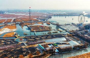 Aerial view of Baiyangdian in Xiongan New Area on New Year's Day